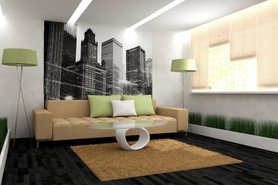 Menggunakan lampu siling di ruang tamu