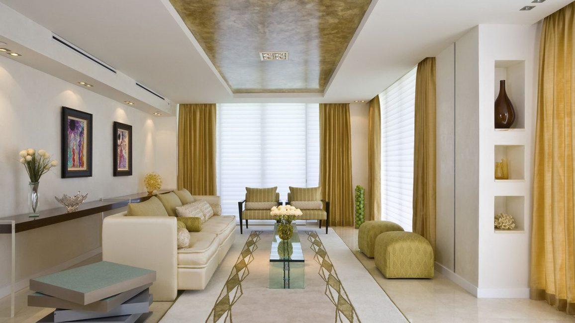 Matte drywall dengan memasukkan glossy