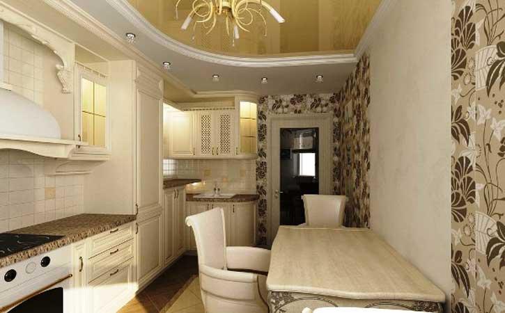 Mutfakta birleştirilmiş duvar kağıdı ile duvarları yapıştırma