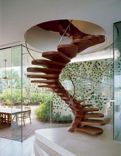 Reka bentuk indah tangga kayu spiral