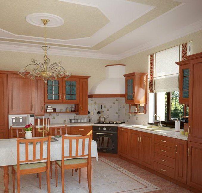Di dapur-dapur besar mengesyorkan lokasi kabinet sebanyak mungkin dalam pelbagai cara.