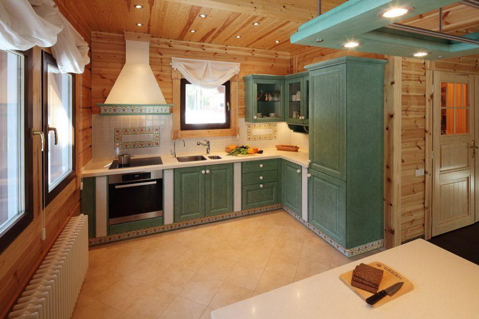 Warna hijau hangat dapur
