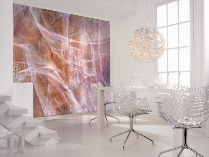 Sesetengah kertas dinding boleh mengembangkan ruang secara visual.