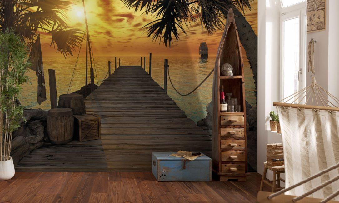 Seperti biasa, penggunaan wallpaper foto yang sesuai dengan pemandangan laut