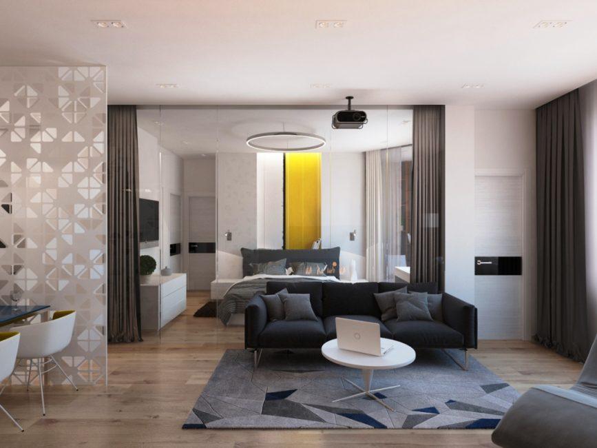 Interior moden dalam warna klasik.