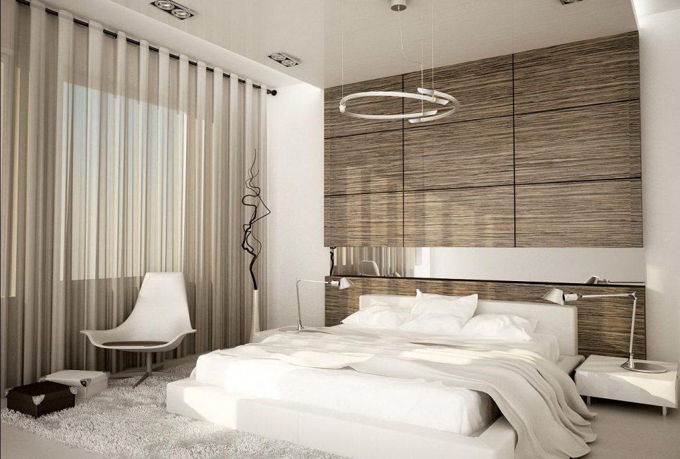 Laminat ile süslenmiş yatak odasında bulunan arıtma