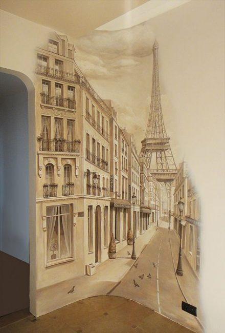 Selalunya menggunakan kertas dinding dengan tema bandar dan jalan-jalan