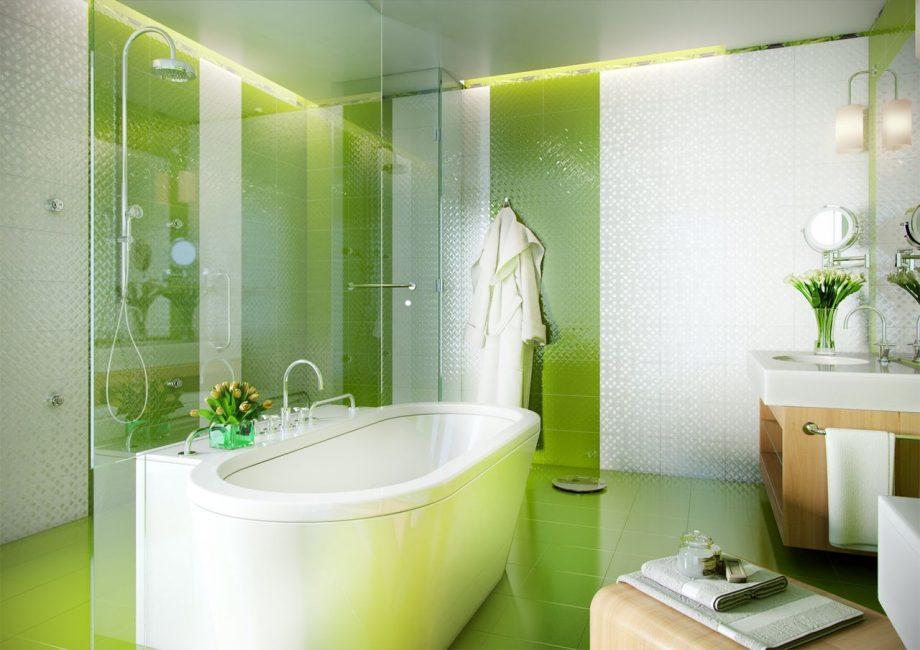 Dengan bantuan warna-warna terang, bilik mandi bertukar menjadi sudut yang selesa.