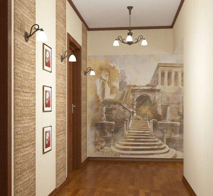 Kertas foto dengan lukisan di dalam dewan