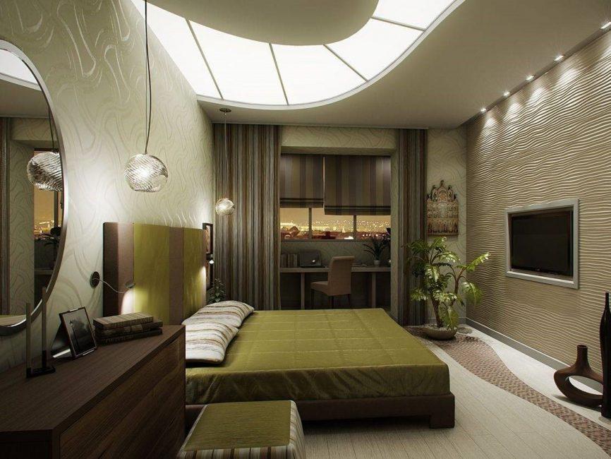작업 공간이있는 침실