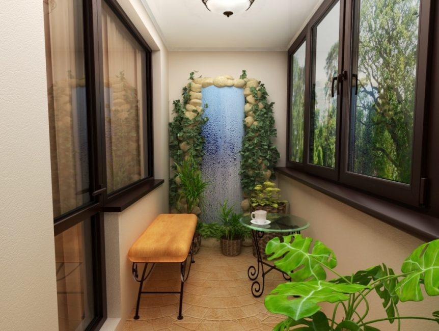 겨울 정원을 발코니에 배치하십시오.