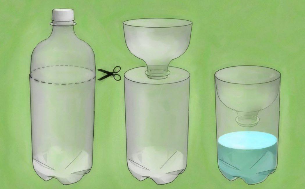 Potong botol dan masukkan bahagian atas ke dalam bekas supaya lehernya kira-kira 5 cm dari bahagian bawah