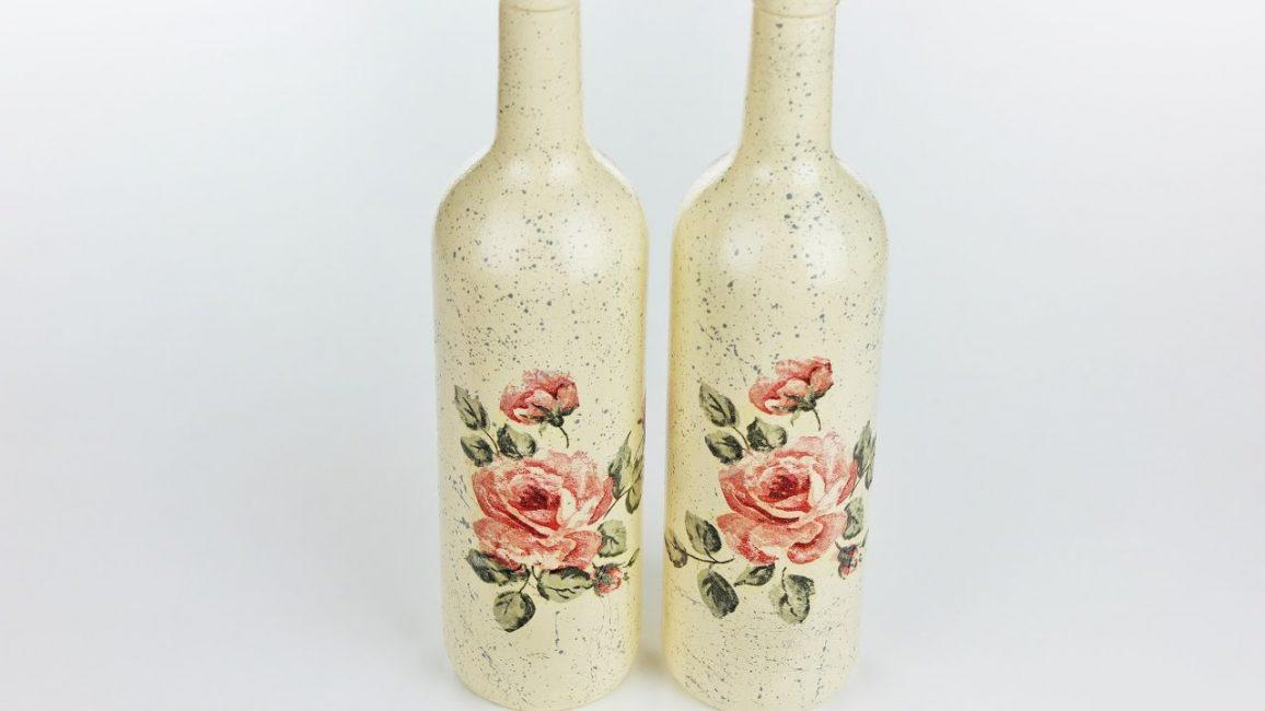 Gül desenli Dekupaj şişesi