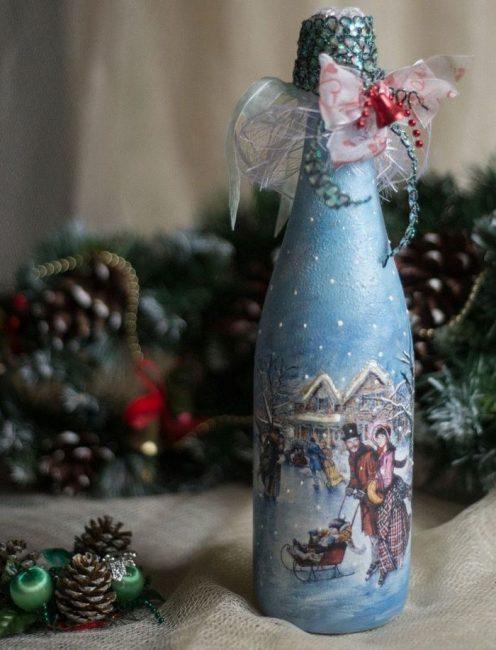 Oymacılık Yılbaşı şişesi şampanya - Yeni Yıl sembolü