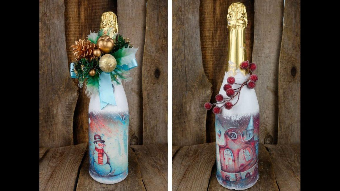Farklı malzemelerden bir şişe için bir dekor oluşturun.