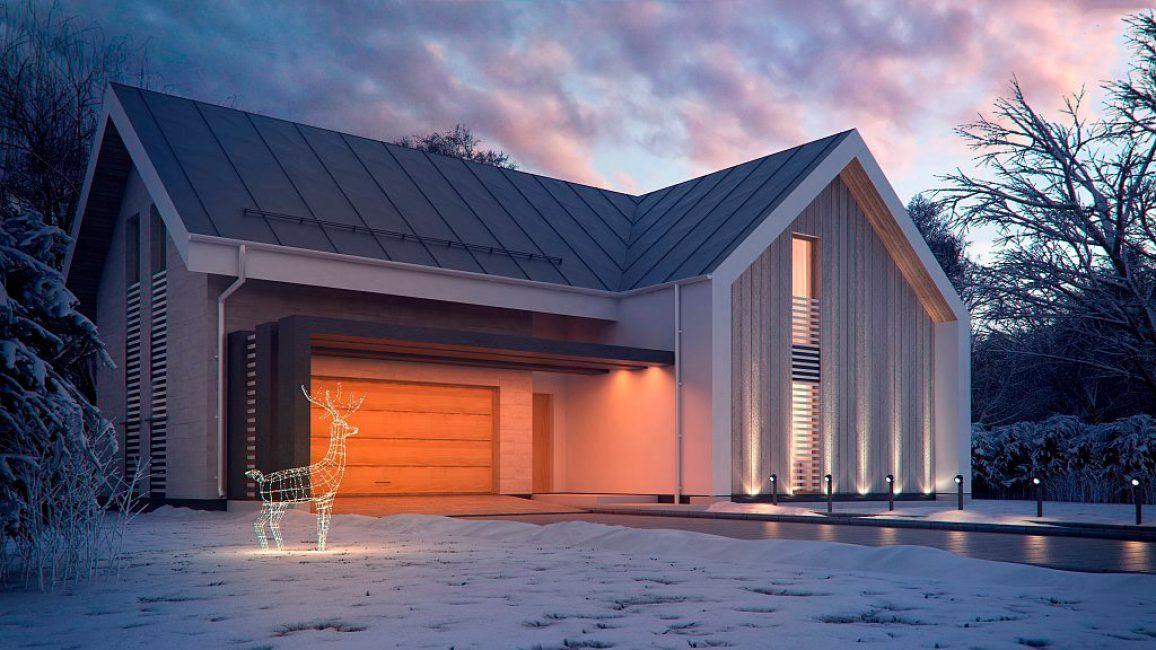 Garaj dibina ke dalam rumah, yang direka dalam kekunci gaya yang sama