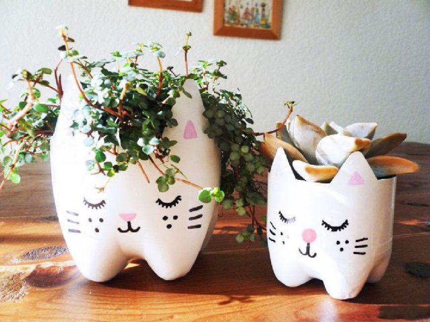 Buat kit - kucing dan anak kucing dari botol saiz yang berbeza.
