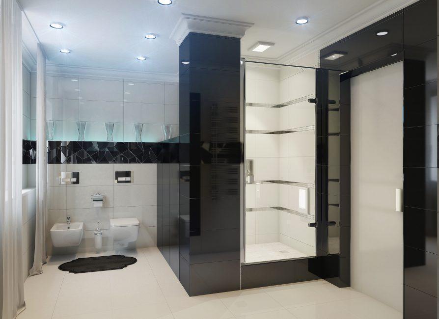 Bilik mandi dengan gaya hi-tech dan susunannya