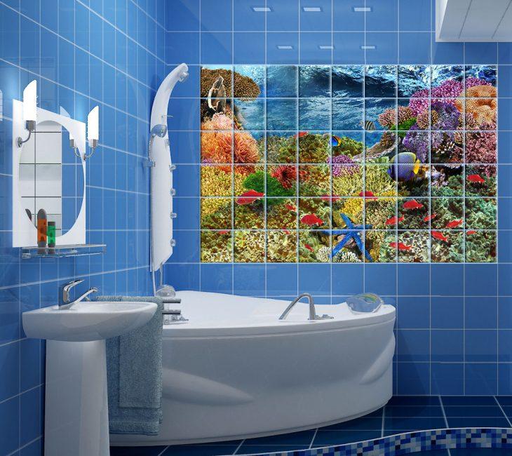 Jubin kesan 3D untuk bilik mandi