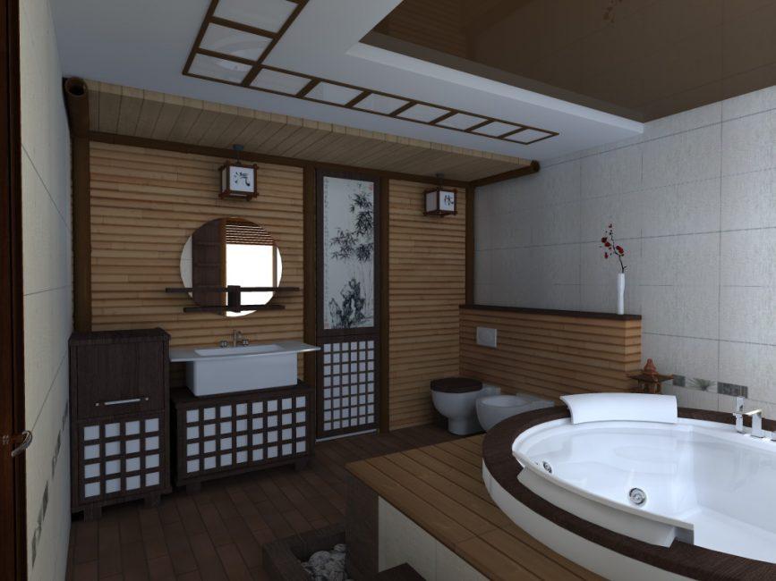 Reka bentuk bilik mandi gaya Jepun
