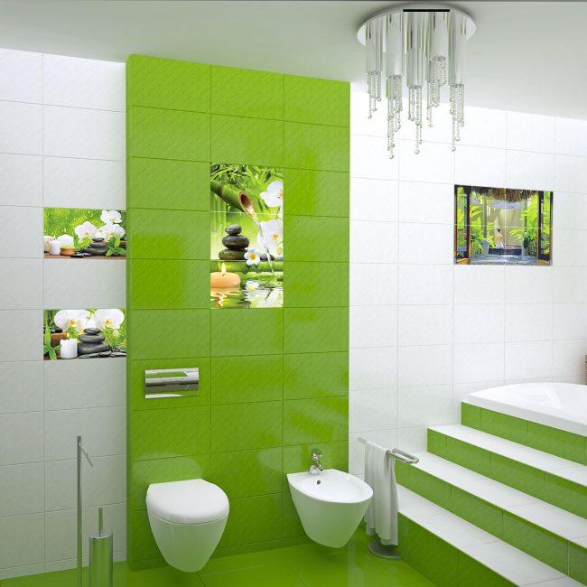 Warna hijau di bilik mandi