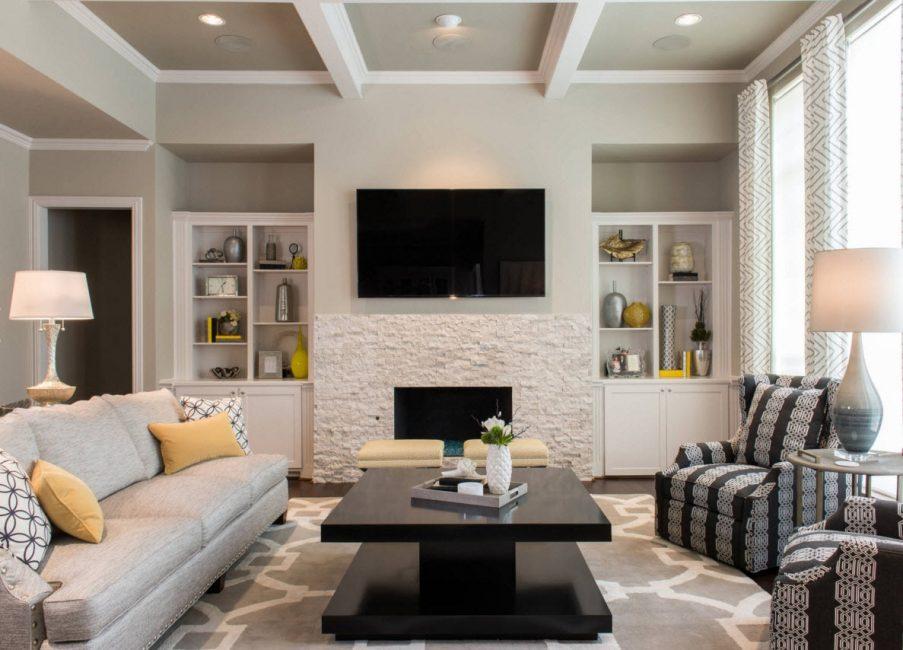 Pilihan rak dalam nada dinding akan menjadikan bilik kecil lebih luas