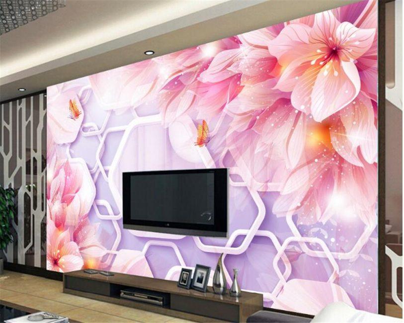 Panel dengan kertas dinding - aksen yang terang di pedalaman