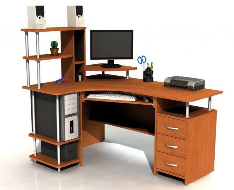 Meja komputer sudut dengan niche untuk unit sistem