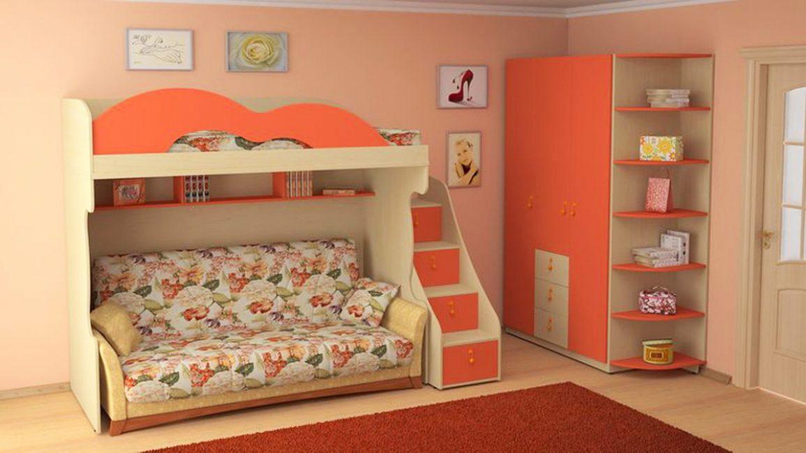 Katil pembinaan di dalam bilik kecil