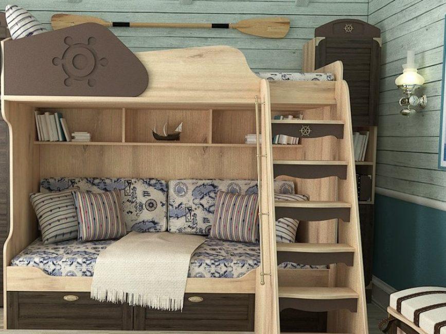 Tangga kayu untuk katil kanak-kanak
