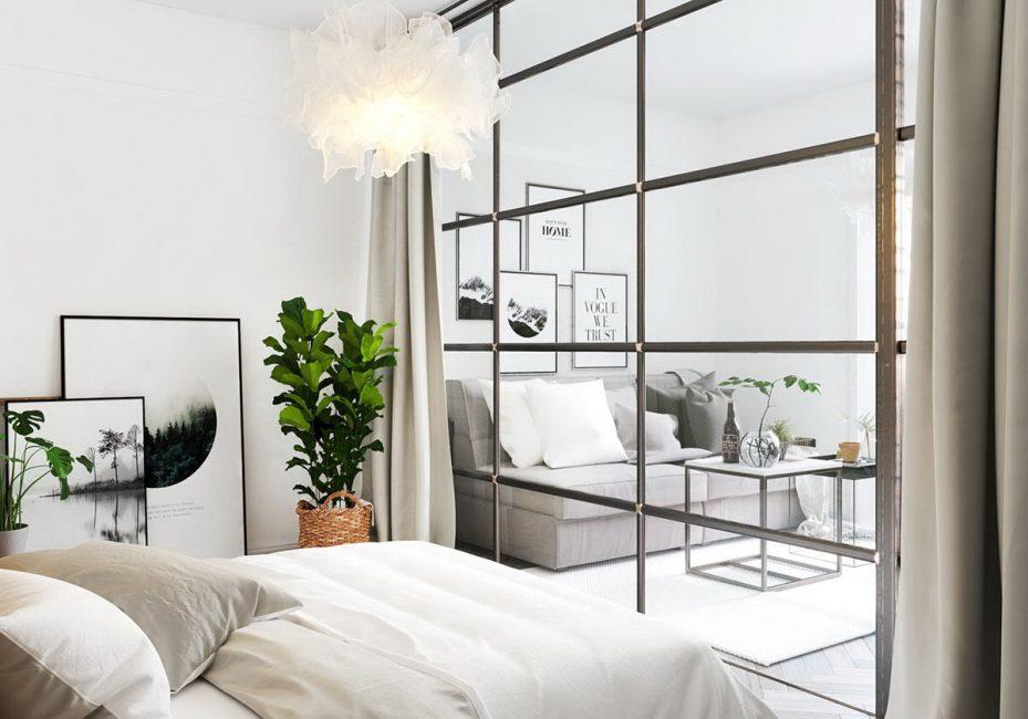 Aksen pada tumbuhan untuk bilik dalam gaya minimalis