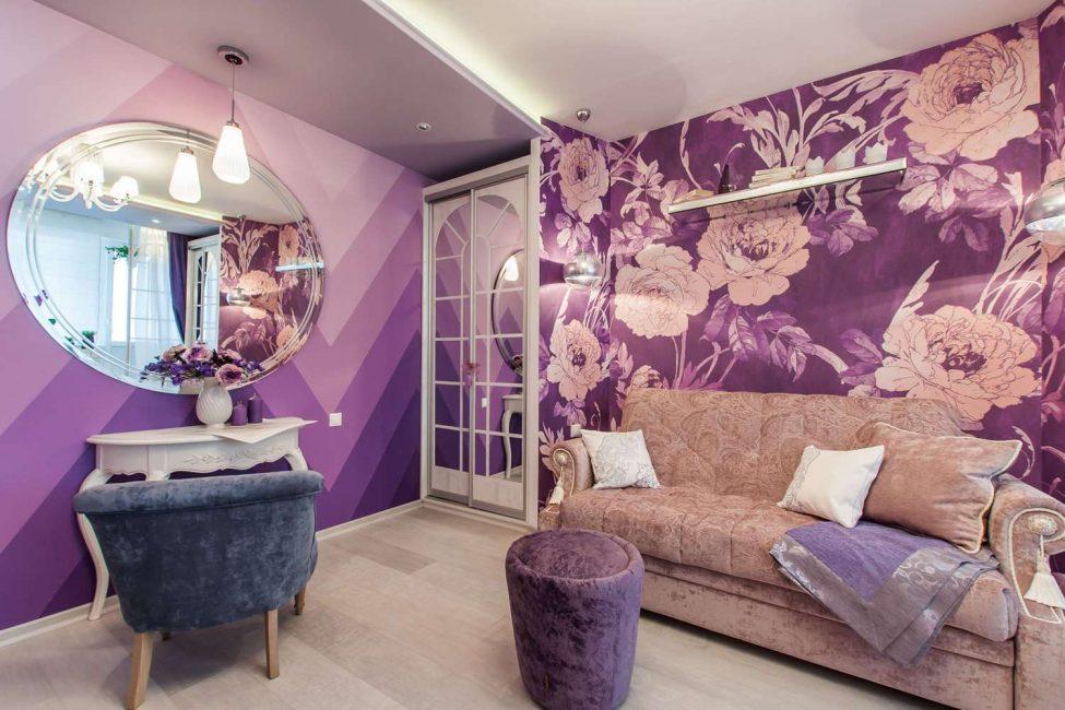 Lila oturma odası tasarımı