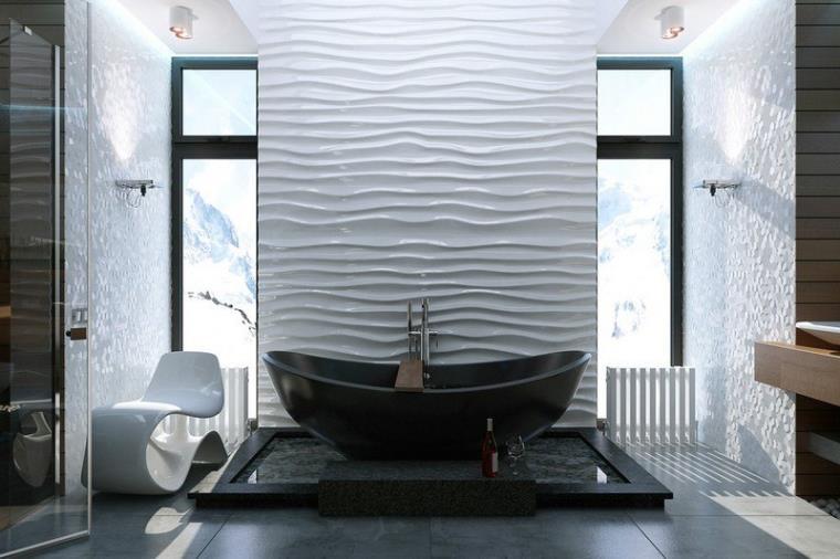 Bilik mandi yang terang dengan aksen hitam