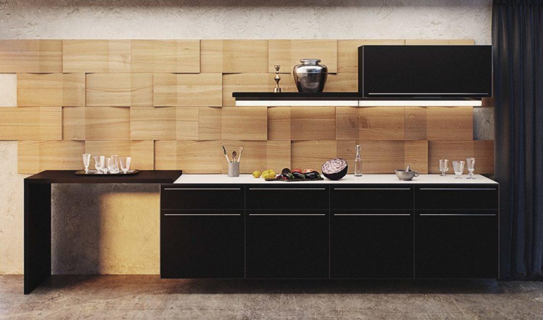 Hiasan dinding di dapur dengan panel MDF