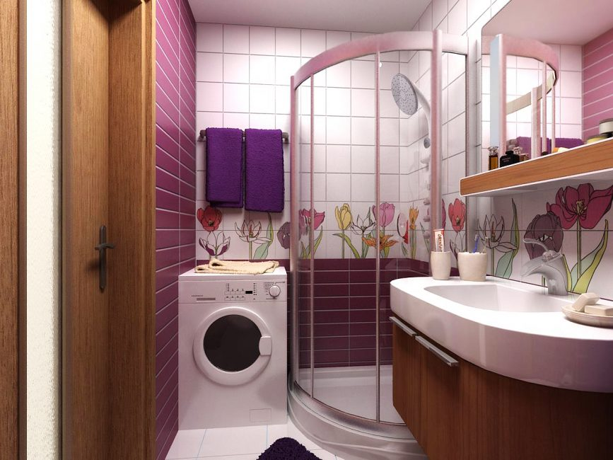 Shower cabin with washing machine in the same room