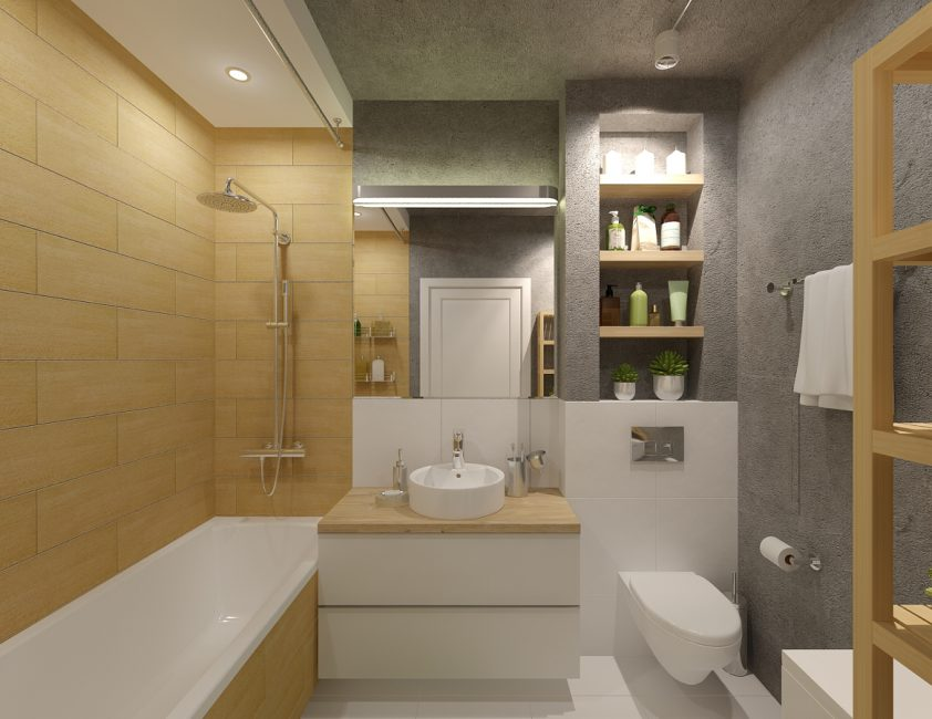 Combine bathroom and toilet to increase space