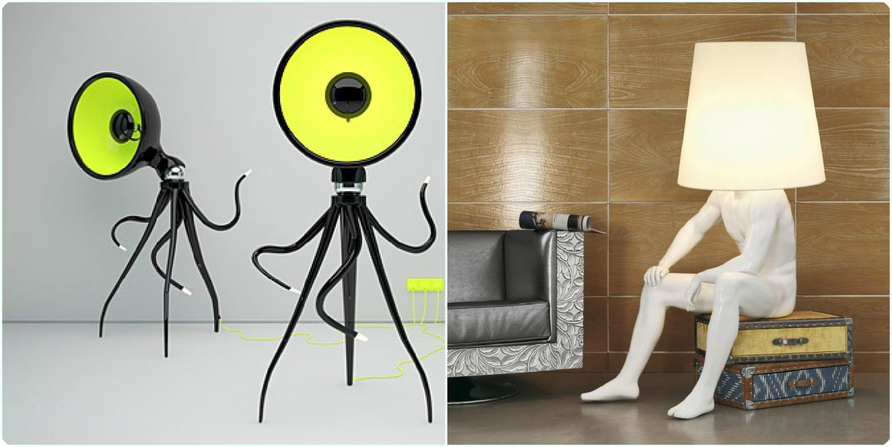 Unusual floor lamps as basic details in the interior