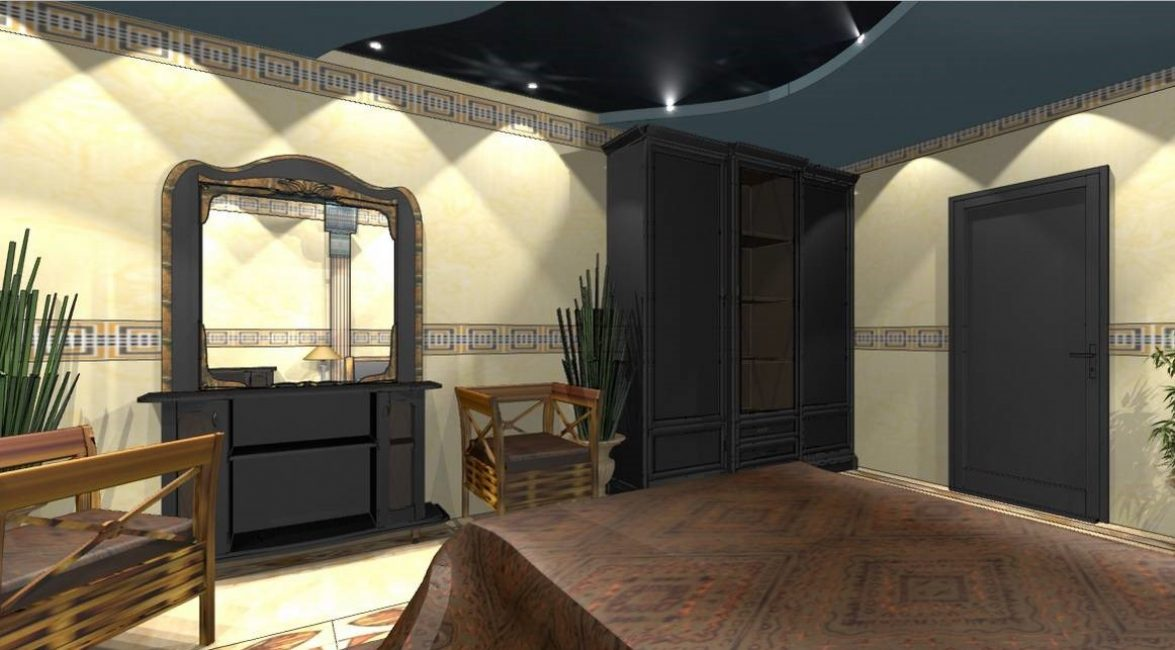 Blue ceiling for a bedroom in Egyptian style