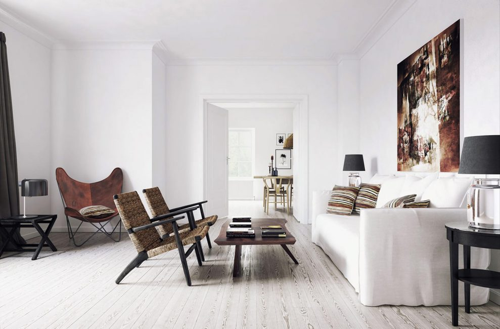 White walls in the interior of the apartment