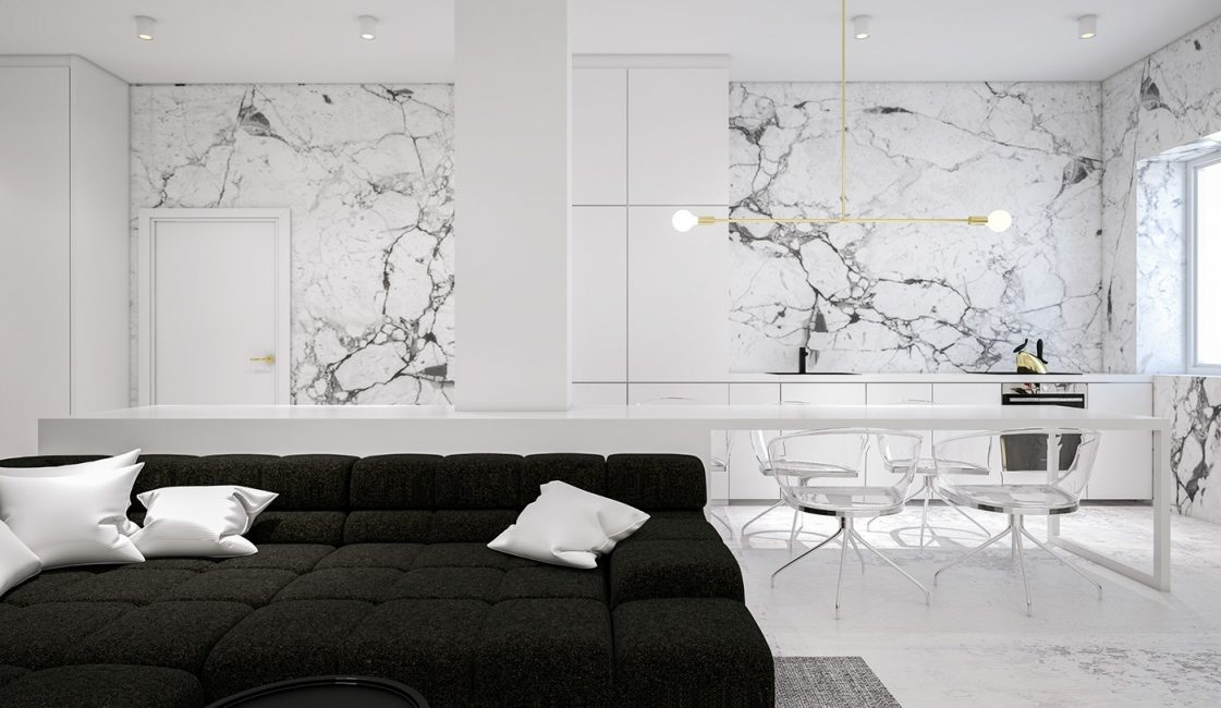 Marble slabs in the decoration of the walls