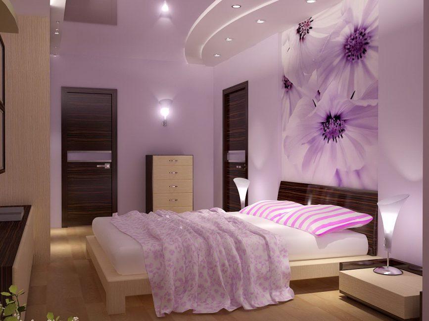 Yatak odası maç için güzel yatak örtüsü
