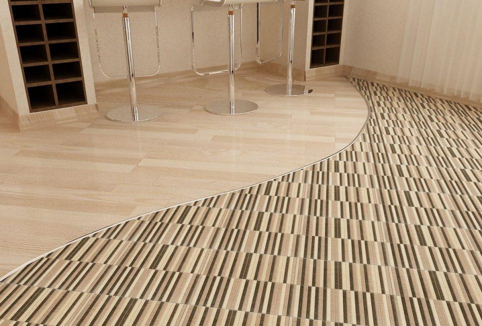 Pilihan lantai yang berbeza di kawasan yang berbeza di dalam bilik