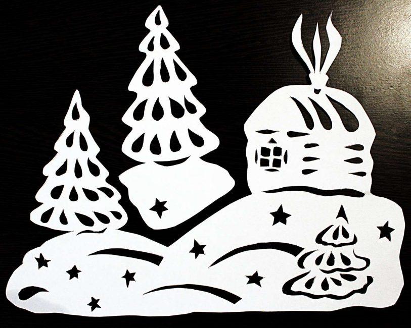 Şablonlar Yeni Yıldan önce herhangi bir pencereyi dekore edebilir