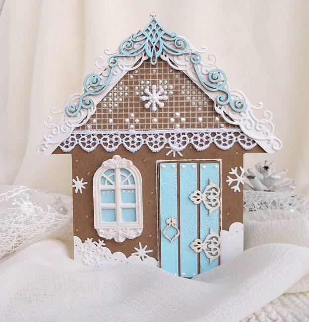 Buat rumah jahe dari kerajinan kertas dan dekorasi ambang jendela