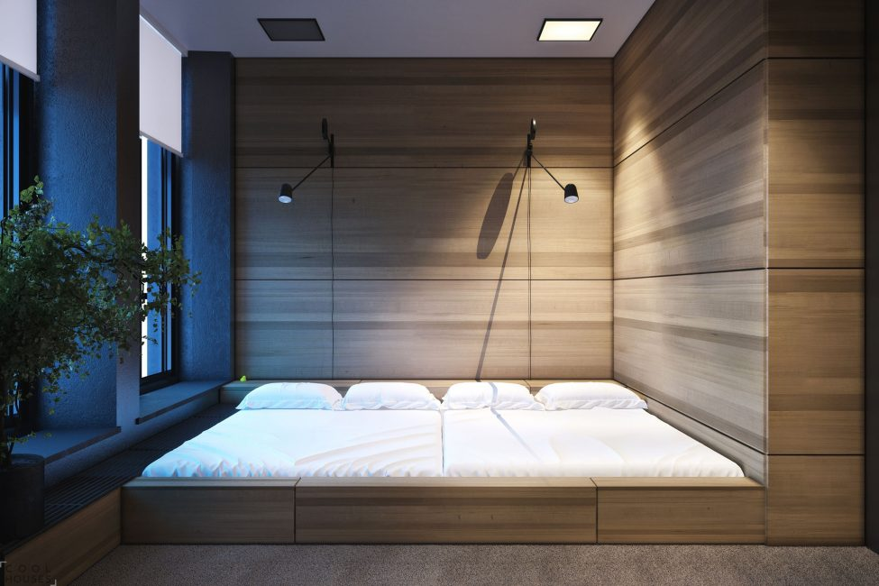 Dedicated bedroom area and storage space.