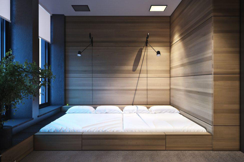 Özel yatak odası alanı ve depolama alanı.