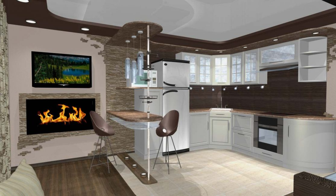The kitchen should move smoothly into the living room.