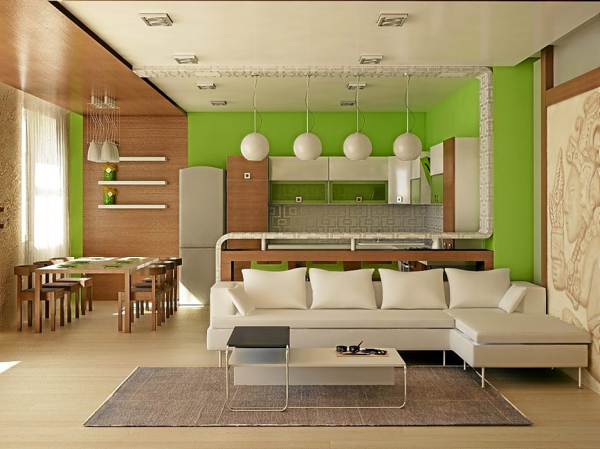 The warm color of the walls and furniture will give more light.