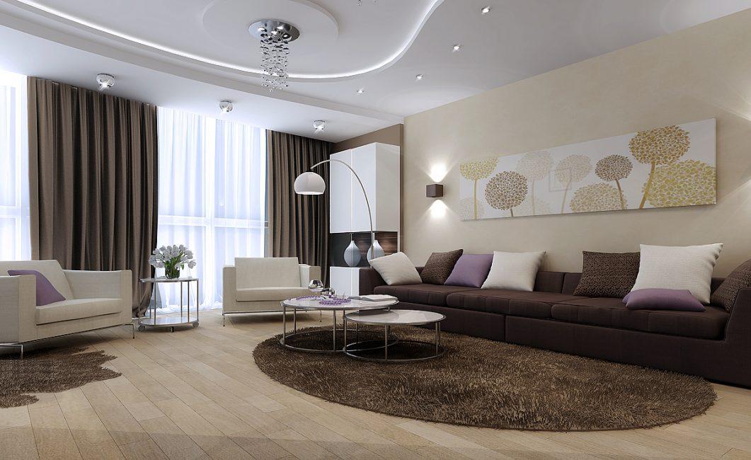 Pilihan untuk ruang tamu reka bentuk dalaman