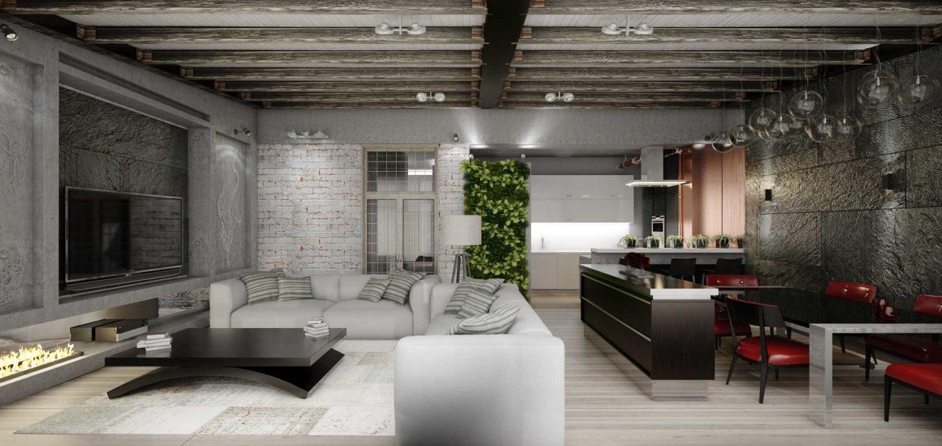 Ciri khas ruang tamu di gaya loteng adalah kekurangan hiasan dinding dan siling.